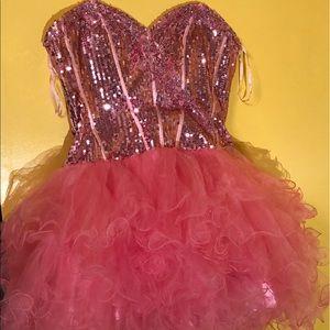 Short pink sequence dress